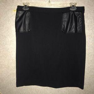 Calvin Klein skirt faux leather trim 14 black